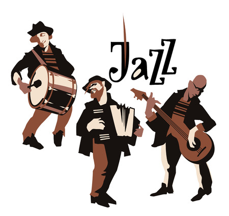 jazz music: Musicans figures. Use for jazz festival poster, jass club, live music cafe and web design. Isolated flat vectors. Easy editable elements. Isolated on white background. Trumpet, violin, contrabass.
