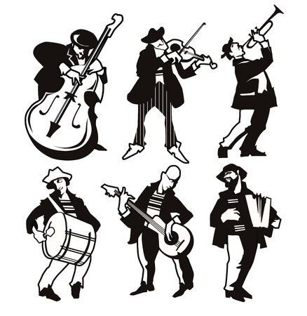 contrabass: Musicans figures. Use for jazz festival poster, jass club, live music cafe and web design. Easy editable elements. Isolated flat vectors. Trumpet, violin, contrabass.