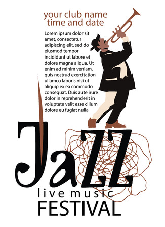 trumpet player: Man playing trumpet. Jazz poster concept. Jazz inscription. Use for jazz festival poster, jass club, live music cafe and web design. Easy editable elements. Isolated flat vectors.