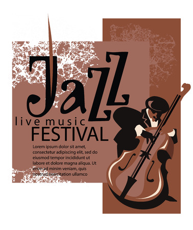 Man playing contrabass. Jazz poster concept. Jazz inscription. Use for jazz festival poster, jass club, live music cafe and web design. Easy editable elements. Isolated flat vectors.