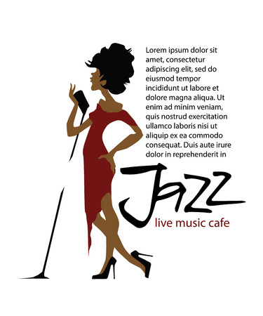pop singer: Musicians design concept set with jazzl music players. Isolated flat vectors. Woman singer. Vocalist. Use for jazz festival poster, jass club, live music cafe and web design.