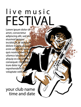 violin player: Man playing saxophone. Music poster concept. Use for music festival poster, jass club, live music cafe and web design. Easy editable elements. Isolated flat vectors.