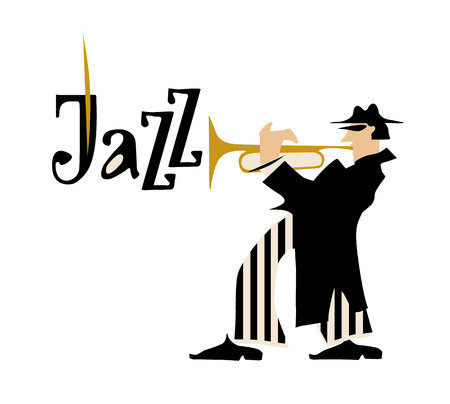 trumpet isolated: Man playing trumpet isolated on white background. Jazz inscription. Vector illustration.