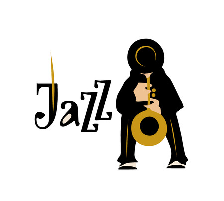 clarinet player: Man playing saxophone isolated on white background. Jazz inscription. Vector illustration. Illustration