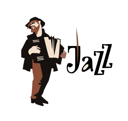 clarinet player: Man playing accordione isolated on white background. Jazz inscription. Flat vector illustration. Jazz symbol. Icon.
