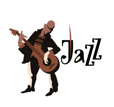 clarinet player: Man playing guitar. isolated on white background. Jazz inscription. Flat  vector illustration. Icon.