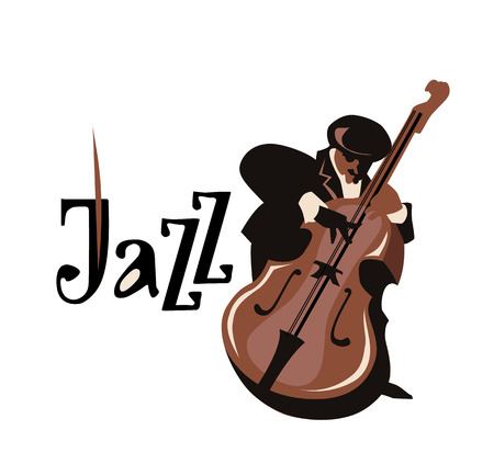 contrabass: Man playing contrabass. Isolated on white background. Jazz inscription. Vector illustration. Jazz symbol. Icon.