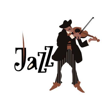 Man playing violin. Violinist. Fiddler isolated on white background. Jazz inscription. Flat vector illustration. Jazz symbol. Icon.