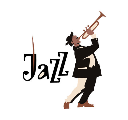 clarinet player: Man playing trumpet isolated on white background. Jazz inscription. Flat vector illustration. Street musican. Jazz symbol. Icon.
