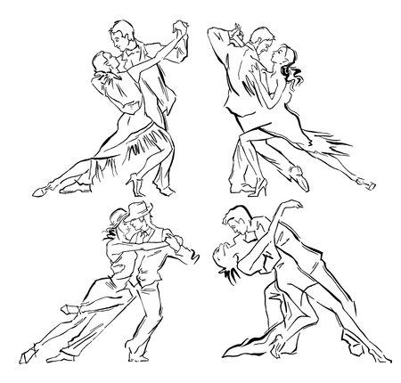 bailarines de salsa: Bosquejo hecho a mano de bailarines de tango. Ilustración del vector. Utilizar para los carteles de estudio de tango, desolladores, sitios web.