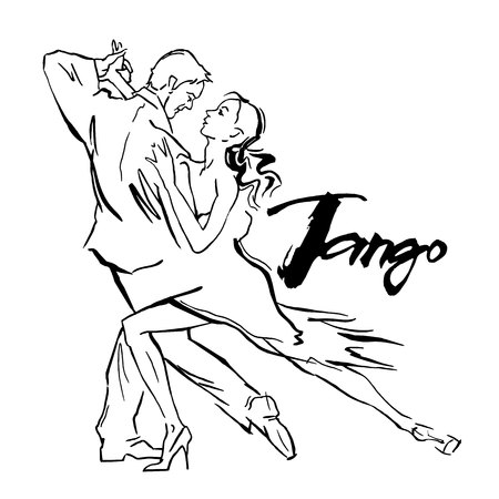 romantic couple: Hand made sketch of tango dancers. Vector illustration. Use for tango studio posters, flayers, web-sites. Tango inscription.