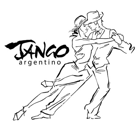 Hand made sketch of tango dancers. Vector illustration. Use for tango studio posters, flayers, web-sites. Tango inscription.