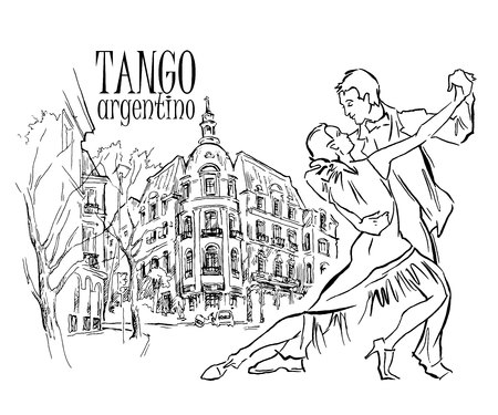 romantic couple: Hand made sketch of tango dancers with city background. Vector illustration. Use for tango studio posters, flayers, web-sites. Tango inscription. Illustration