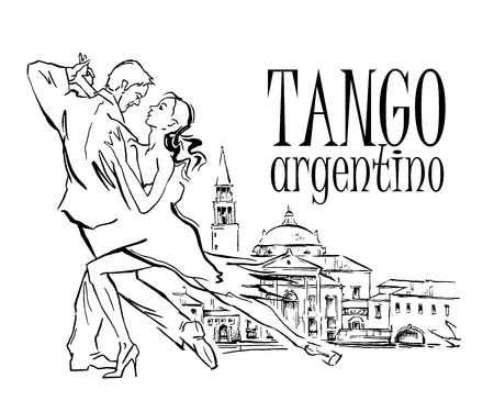 Hand made sketch of tango dancers with city background. Vector illustration. Use for tango studio posters, flayers, web-sites. Tango inscription. Illustration