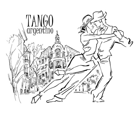 flayers: Hand made sketch of tango dancers with city background. Vector illustration. Use for tango studio posters, flayers, web-sites. Tango inscription. Illustration