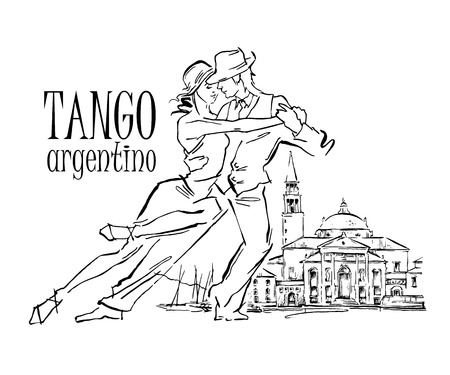 argentina dance: Hand made sketch of tango dancers with city background. Vector illustration. Use for tango studio posters, flayers, web-sites. Tango inscription. Illustration