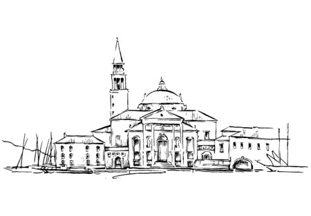 Vector drawing of old town. Cityscape. Vector illustration.