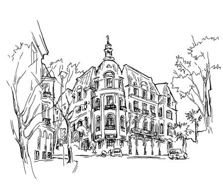 Wektorowy rysunek stary miasteczko. Cityscape. Ilustracji wektorowych.