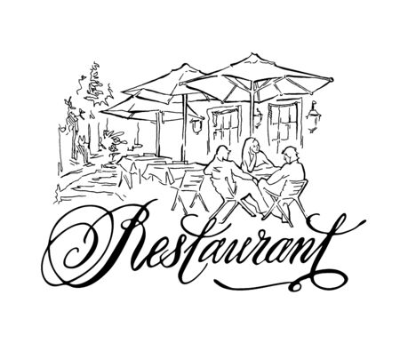 Hand made vector sketch of old town fragment. Calligraphic inscription. Restaurant. Isolated on white background. Illustration