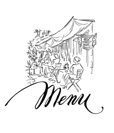 Hand made vector sketch of old town fragment. Calligraphic inscription. Menu. Isolated on white background. Vintage style.