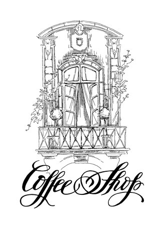 cityview: Hand made vector sketch of old town fragment. Calligraphic inscription. Coffee shop. Isolated on white background. Vintage style.