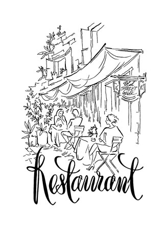 cityview: Hand made vector sketch of old town fragment. Calligraphic inscription. Restaurant. Isolated on white background. Illustration