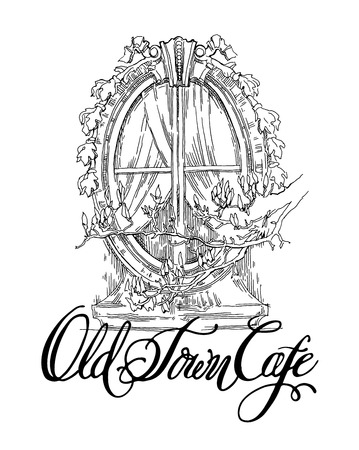 old town: Hand made vector sketch of old town fragment. Calligraphic inscription. Restaurant. Isolated on white background. Old town cafe calligraphy inscription. Illustration