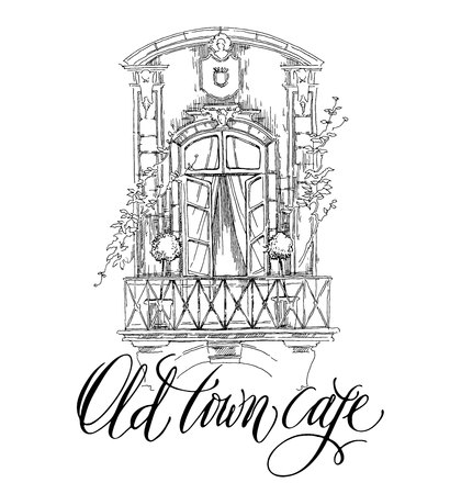 Hand made vector sketch of old town fragment. Calligraphic inscription. Restaurant. Isolated on white background. Old town cafe calligraphy inscription. Vintage ornate style. Illustration