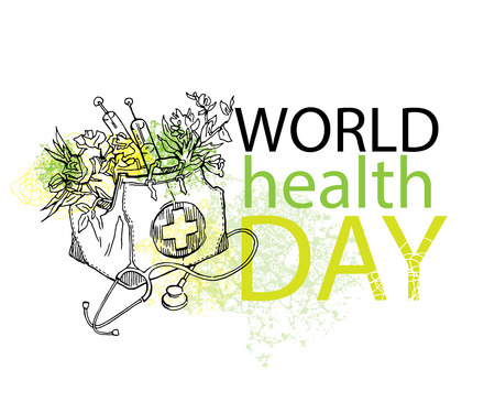 Hand Made Vector Drawings For World Health Day Good Cards Banners Posters