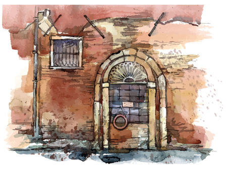 italy street: sketch of old street. Waterctolor painting. illustration.