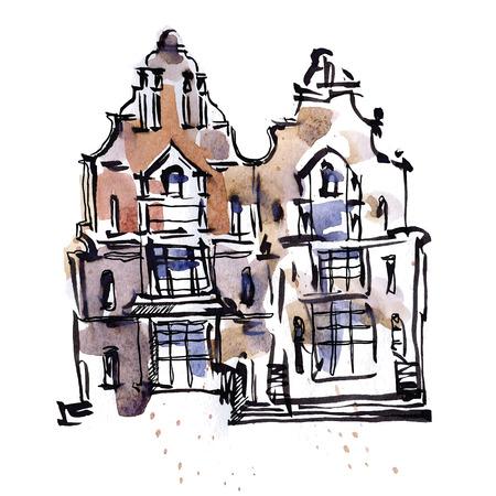 old street: sketch of old street. Waterctolor painting. illustration.