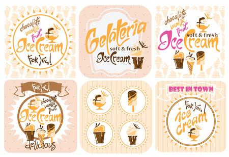 ice cream cart: cart illustrazione gelato elementi di design di gelato Vettoriali