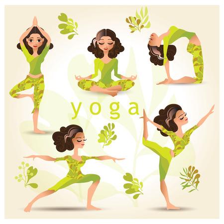 yoga poster: Set with woman in various poses of yoga. set of yoga illustration. Set of yoga poses. Yoga exercises. Women yoga. Yoga class, yoga center, yoga studio. Yoga poster. Healthy lifestyle.