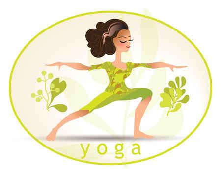 yoga poster: Yoga poses. illustration made in cartoon style. Yoga exercises. Women yoga. Yoga class, yoga center, yoga studio. Yoga poster. Healthy lifestyle.