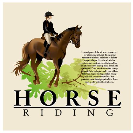 hippodrome: Horse and Rider realistic illustration. Isolated on white background.