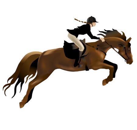Koń i jeździec realistyczne ilustracji. Pojedynczo na białym tle.