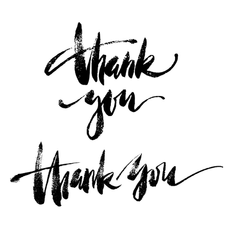 Inspirational lettering Thank You. Hand drawn modern brush calligraphy. Vector lettering art. Ink illustration. Lettering element for graphc design. Isolated on white background.