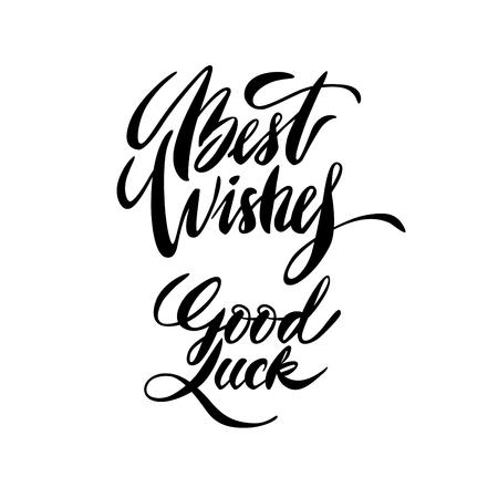 luck: Modern brush calligraphy inscriptions. Brush lettering card. Illustration