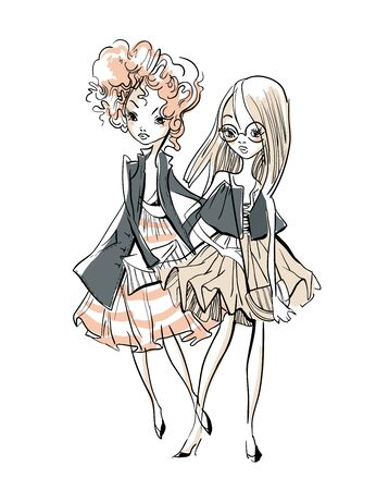 Sketch of cute cartoon girls.