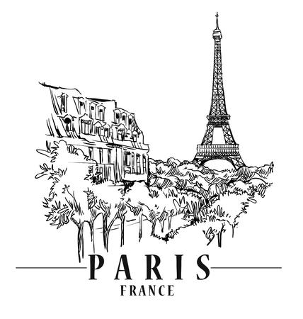 pink roof: Paris vector illustration. Illustration