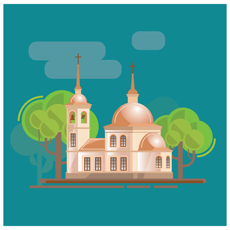 altar: Church and trees ladscape vector illustration. Made in cartoon style. Illustration
