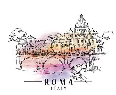 Roma sketch. Italian capital illustration. Illustration