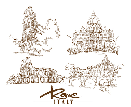 Illustration of Rome made in sketchy style.