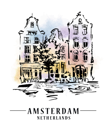 mansard: Bridge in Amsterdam, Holland, Netherlands Europe. Hand drawing. Travel sketch. Book illustration, postcard, poster in vector