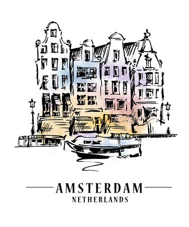 mansard: Amsterdam architecrture sketch Illustration