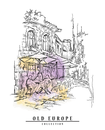 lineart: Hand drawn sketch of old street. Lineart drawing on watercolor background.