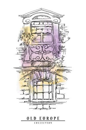 古い通りの手描きのスケッチ。ビンテージ スタイルのベクター イラストです。水彩画背景。
