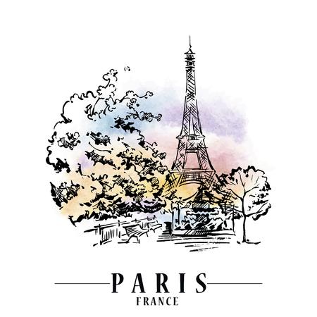 Paris vector illustration. Stock Illustratie