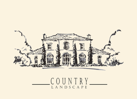 Country landscape. Ink and pen hand drawing. Vector illustration made in vintage style.