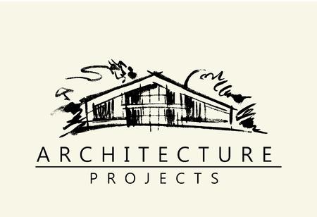 House illustration. Design concept. Architecture project logo. Hand drawn artwork.